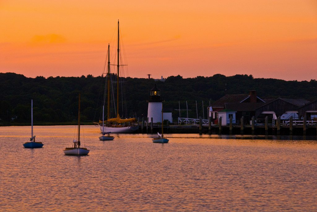 Photograph of the Mystic Seaport Museum at Sunset