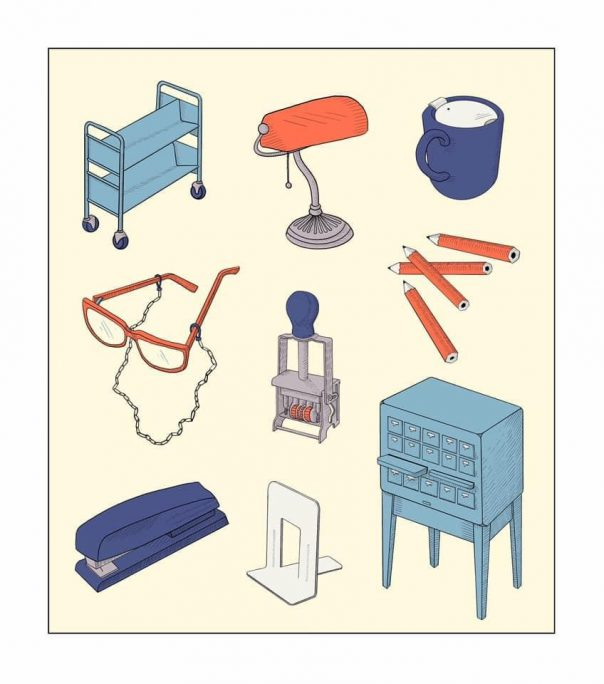 illustration of various items found in a library, book truck, banker's lamp, coffee mug with lid, gold pencils, glasses on a chain, date stamp, card catalog, bookend, stapler
